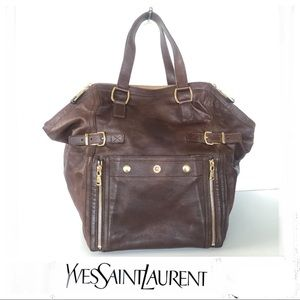 YSL Brown Calf Skin Medium Downtown Satchel Tote